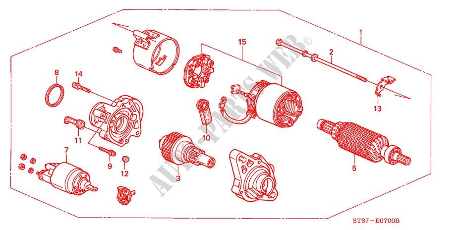 MOTOR ARRANQUE(VALEO) (\'95/\'96) para Honda Automoveis CIVIC ...